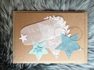 Weihnachtskarte ★ STERNENGLANZ ★ mit Briefumschlag, aus Recyclingpapier - Handarbeit kaufen