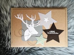 Weihnachtskarte ★ HIRSCH ★ mit Briefumschlag, aus Recyclingpapier - Handarbeit kaufen