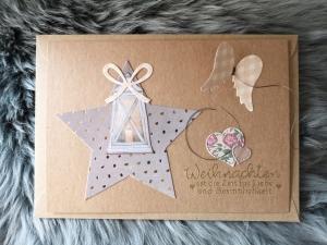 Weihnachtskarte ★ BESINNLICHKEIT ★ mit Briefumschlag, aus Recyclingpapier - Handarbeit kaufen