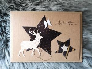 Weihnachtskarte ★ GOLDREGEN ★ mit Briefumschlag, aus Recyclingpapier - Handarbeit kaufen