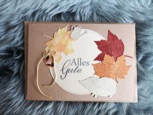 Grußkarte Alles Gute ♡  HERBST IGEL ♡ mit Briefumschlag, aus Recyclingpapier, Graspapier