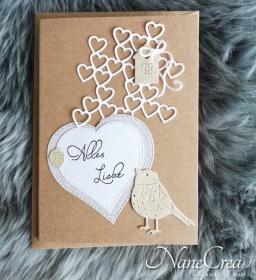 Grußkarte Alles Liebe ♡ HERZ ♡ mit Briefumschlag, aus Recyclingpapier, handgemacht - Handarbeit kaufen