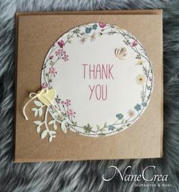 Grußkarte quadratisch ♥ THANK YOU ♥ mit Briefumschlag, aus Recyclingpapier, Graspapier - Handarbeit kaufen