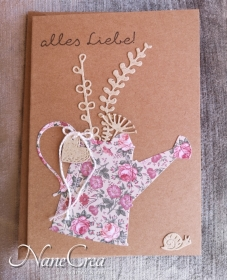 Grußkarte Alles Liebe ♡ GARTEN ♡ mit Briefumschlag, aus Recyclingpapier, handgemacht - Handarbeit kaufen