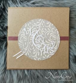 Elegante Hochzeitskarte quadratisch ♡ MR & MRS ♡ mit Briefumschlag, aus Recyclingpapier - Handarbeit kaufen