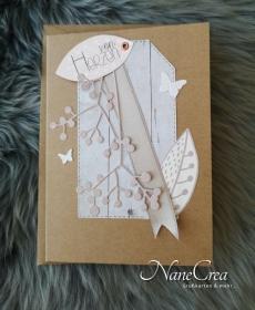 Edle Grußkarte ♡ VON HERZEN ♡ mit Briefumschlag, aus Recyclingpapier, handgemacht - Handarbeit kaufen