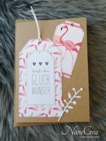 Grußkarte Herzlichen Glückwunsch ♡ FLAMINGO ♡ mit Briefumschlag, aus Recyclingpapier, handgemacht - Handarbeit kaufen