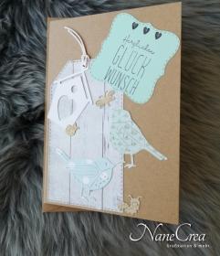 Grußkarte Herzlichen Glückwunsch ♡ BIRDS ♡ mit Briefumschlag, aus Recyclingpapier, handgemacht - Handarbeit kaufen