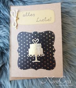Grußkarte Alles Liebe ♡ SCHWARZ/GOLD ♡ mit Briefumschlag, aus Recyclingpapier, handgemacht - Handarbeit kaufen