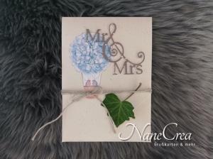 Hochzeitskarte ♡ HORTENSIE ♡ mit Briefumschlag, handgemacht - Handarbeit kaufen
