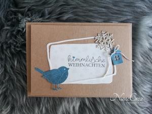 Weihnachtskarte ★ HIMMLISCH ★ mit Briefumschlag, aus Recyclingpapier - Handarbeit kaufen