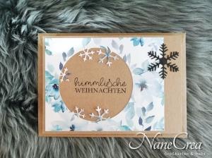 Weihnachtskarte ★ EISBLUME ★ mit Briefumschlag, aus Recyclingpapier, handgemacht - Handarbeit kaufen