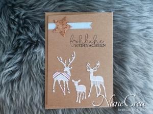 Weihnachtskarte ★ FRÖHLICHE WEIHNACHTEN ★ mit Briefumschlag, aus Recyclingpapier, handgemacht - Handarbeit kaufen