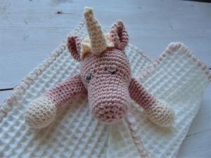 Schmusetuch mit rosa  Einhorn zum Kuscheln für Babys und Kleinkinder