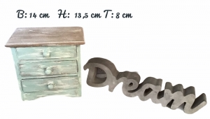 Kleine Holzkommode mit 3 Schubläden - Landhausstil -  vintage - grün / braun - Handarbeit kaufen