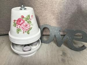 Teelichtofen Teelichtkamin Sommer Edition für Balkon und Terrasse ,inkl 3 Teelichter -  Rosen pink auf weiss - Handarbeit kaufen