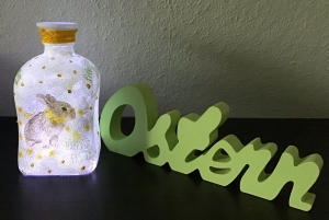 Ostern ♥  Leuchtflasche ♥ Vase ♥️ Osterhase ♥ upcycling ♥ Unikat    - Handarbeit kaufen
