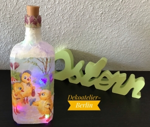 ♥ Leuchtflasche ♥ Ostern ♥ Geschenk ♥️ upcycling ♥ Unikat - Osterküken - Handarbeit kaufen