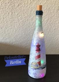 ♥ Leuchtflasche ♥ handmade ♥ Geschenk ♥️ upcycling ♥ Unikat  - Maritim - Handarbeit kaufen