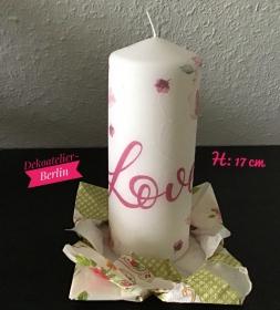 Kerze  groß ♥ 17 cm ♥️ Einzigartig♥ Geschenk ♥ upcycling ♥ Unikat  - Love - Handarbeit kaufen