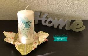 Kerze  ♥ Einzigartig♥ Geschenk ♥ upcycling ♥ Unikat  - Blumen türkis - Handarbeit kaufen