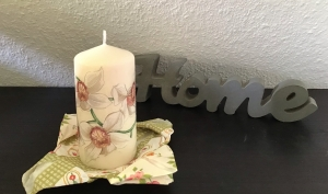 Kerze  ecru ♥ Einzigartig♥ Geschenk ♥ upcycling ♥ Unikat  - Blumen braun