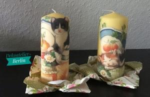 Kerze gelb 2 er Set ♥ Einzigartig♥ Geschenk ♥ upcycling ♥ Unikat  -  Katzen - Handarbeit kaufen