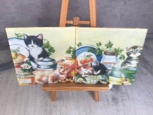 Dekofliese ♥ Untersetzer 2er Set ♥️ Einzigartig♥ Geschenk  ♥ upcycling ♥ Unikat - Katzen - Handarbeit kaufen