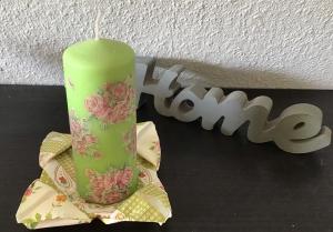 Kerze grün ♥ Einzigartig♥ Geschenk ♥ upcycling ♥ Unikat  -  Rosen - Handarbeit kaufen