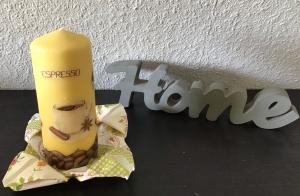 Kerze gelb ♥ 14 cm ♥️ Einzigartig♥ Geschenk ♥ upcycling ♥ Unikat  - Café  - Handarbeit kaufen