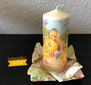 Kerze ecru ♥ 14 cm ♥️  Einzigartig♥ Geschenk ♥ upcycling ♥ Unikat  -  Oster Küken - Handarbeit kaufen