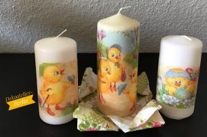 Kerzen 3 er Set  ♥ Einzigartig♥ Ostern ♥ Geschenk ♥ Unikat  - OsterKüken  - Handarbeit kaufen
