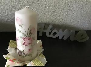 Kerze  groß ♥ Einzigartig♥ Geschenk ♥ upcycling ♥ Unikat  - Vintage Rosen - Handarbeit kaufen