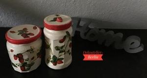 Aufbewahrungsgläser 2 er Set ♥  handmade ♥️ upcycling ♥ Unikat - Erdbeeren - Handarbeit kaufen
