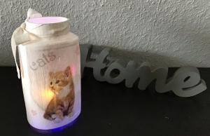 Teelichtglas ♥ Aufbewahrung ♥️ Geschenk ♥️ upcycling ♥ Unikat - Katzen - Handarbeit kaufen