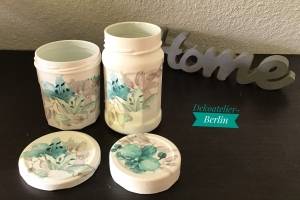 Aufbewahrungsgläser 2 er Set ♥  handmade ♥️ upcycling ♥ Unikat - Blumen Türkis - Handarbeit kaufen