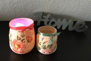 2er Set Teelichtglas ♥ Aufbewahrung  ♥️ Geschenk ♥️ upcycling ♥ Unikat - Blumen antik - Handarbeit kaufen