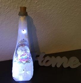 Leuchtflasche ♥ handmade ♥ Geschenk ♥️ upcycling ♥ Unikat -  Vogelbild  - Handarbeit kaufen