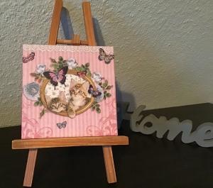 Dekofliese ♥ Untersetzer ♥️ Einzigartig♥Geschenk  ♥ upcycling ♥ Unikat - Katzen im Bild - Handarbeit kaufen