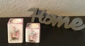 2er Set Kerzenständer klein ♥️Geschenk  ♥️ upcycling ♥ Unikat - Vintage Rosen - Handarbeit kaufen