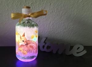 Leuchtflasche ♥ handmade ♥ Geschenk ♥️ upcycling ♥ Unikat - Rehkitz Reh - Handarbeit kaufen