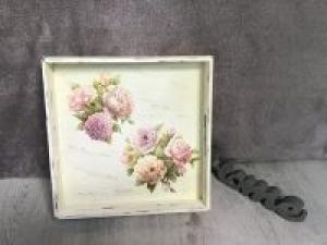 Serviertablett ♥ shabby chic ♥️ einzigartiges Geschenk ♥️ Unikat - Blumen - Handarbeit kaufen