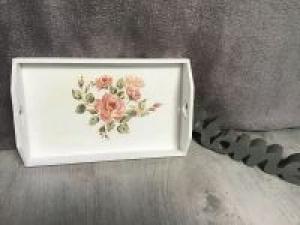 Serviertablett Mini ♥ shabby chic ♥️ einzigartiges Geschenk ♥️ Unikat -Rosen Antik - Handarbeit kaufen