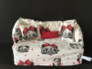 Deko-Sofa ❤️ Kosmetikbox Sofa ❤️ Taschentücherbox Sofa ❤️ Unikat - Möpse weiß  - Handarbeit kaufen