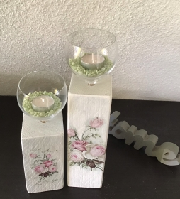 Kerzenständer  Holz handmade für Balkon und Terrasse ,inkl Gläser,Teelichter und Granulat - Rosen Romantik - Handarbeit kaufen