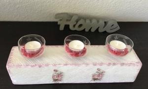 Kerzenständer breit Holz handmade für Balkon und Terrasse ,inkl Gläser,Teelichter und Granulat - Rosen romantisch - Handarbeit kaufen