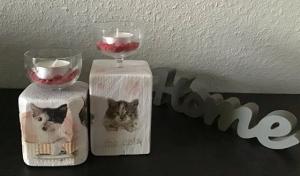 Kerzenständer Holz handmade für Balkon und Terrasse ,inkl Gläser,Teelichter und Granulat -  Katzen - Handarbeit kaufen