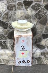 Kerzenständer Holz handmade für Balkon und Terrasse ,inkl Gläser,Teelichter und Granulat - Cafe - Handarbeit kaufen