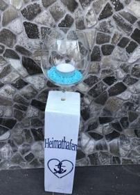 Kerzenständer Holz handmade für Balkon und Terrasse ,inkl Gläser,Teelichter und Granulat -  Heimathafen - Handarbeit kaufen