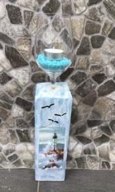 Kerzenständer Holz handmade für Balkon und Terrasse ,inkl Gläser,Teelichter und Granulat -  Maritim 3D - Handarbeit kaufen